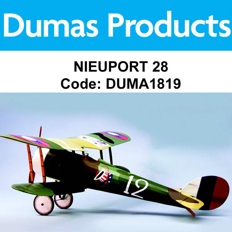 "DUMAS 1819, Nieuport 28, 35"" R/C ELECTRIC POWERED"
