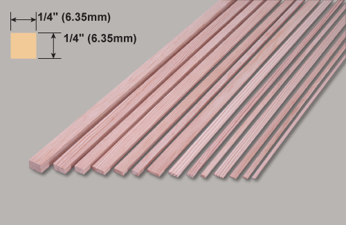 1/4(6.4mm) x 1/4(6.4mm)x 1220mm Basswood