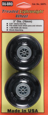 "Dubro Low BounceThreaded Light Wheels 3 1/4""(82mm)"